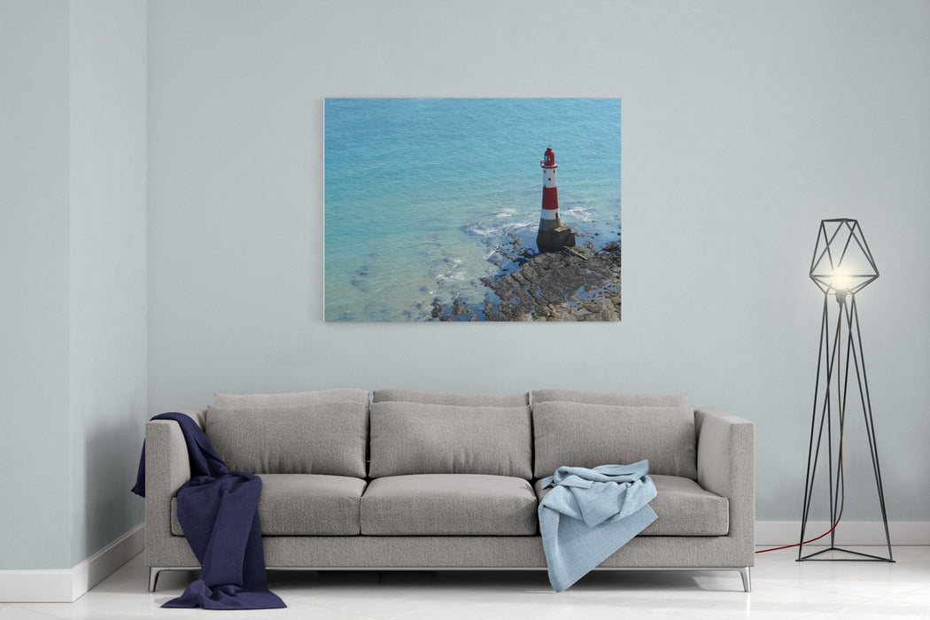 Aerial Photography Of A Lighthouse And Sea Near Beachy Head In England Canvas Wall Art Print
