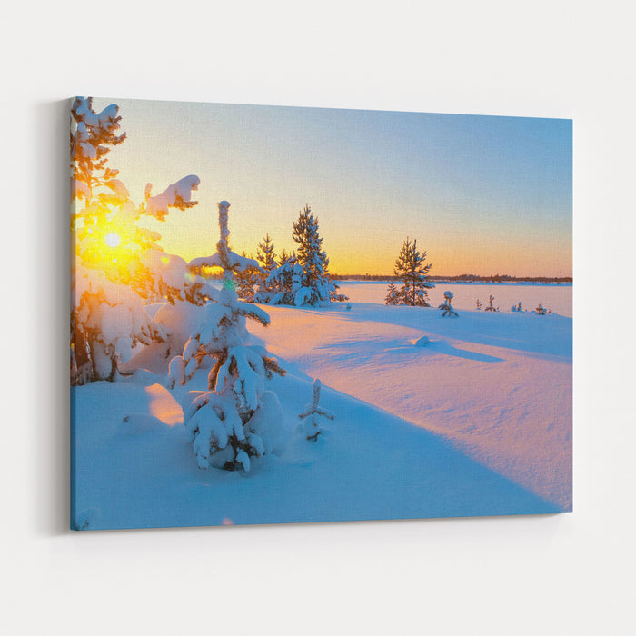 A Colorful Sunset On A Winter Evening Canvas Wall Art Print