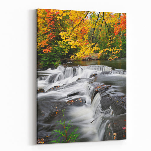 Michigan Autumn Waterfall, Bond Falls USA Canvas Wall Art Print
