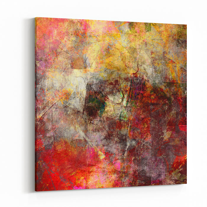 Abstract Painting In Different Colors And Textures Canvas Wall Art Print