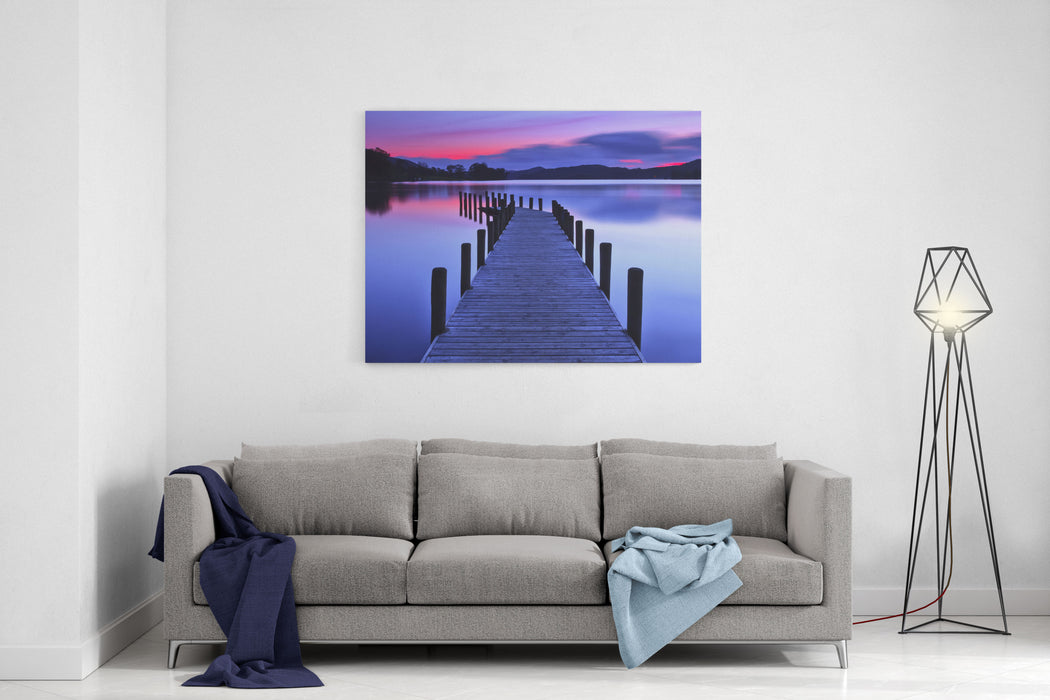 A Panoramic Image Of A Jetty At Coniston Water Canvas Wall Art Print