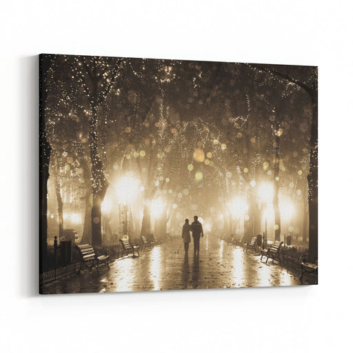 Couple Walking At Alley In Night Lights Photo In Vintage Multicolor Style Canvas Wall Art Print