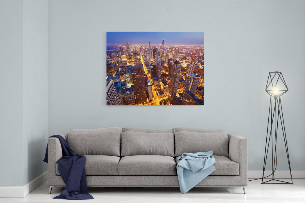 City Of Chicago Aerial View  Of Chicago Downtown At Twilight From High Above Canvas Wall Art Print