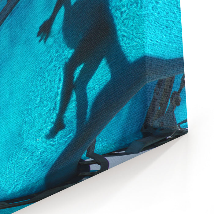 Kid Sliding A Blue Waterslide Canvas Wall Art Print