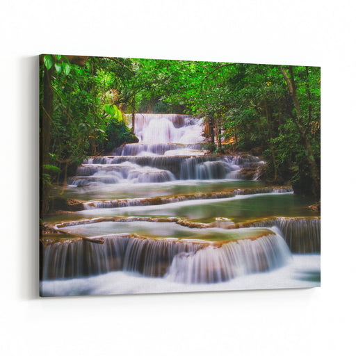 Waterfall In Deep Forest At Huay Mae Ka Min Of Karnjanaburi In Thailand Canvas Wall Art Print
