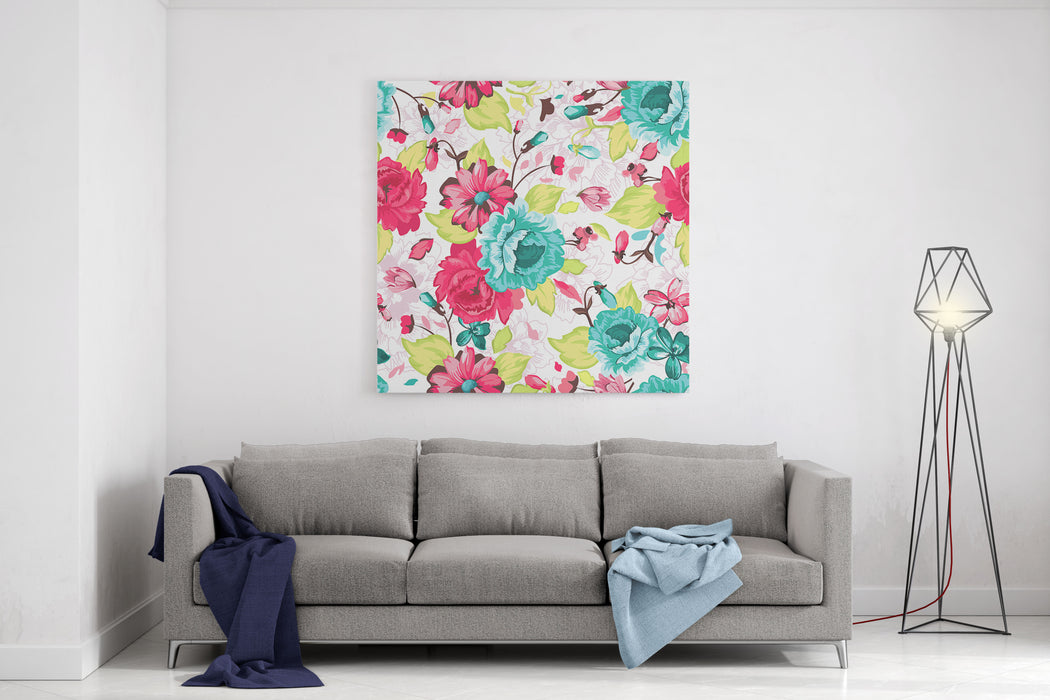 Abstract Elegance Seamless Pattern With Floral Background Canvas Wall Art Print