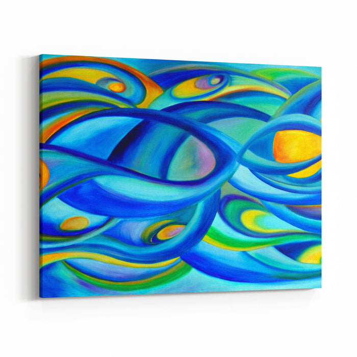Modern Oil Painting Abstract With Universe Concept In Blue And Green Canvas Wall Art Print