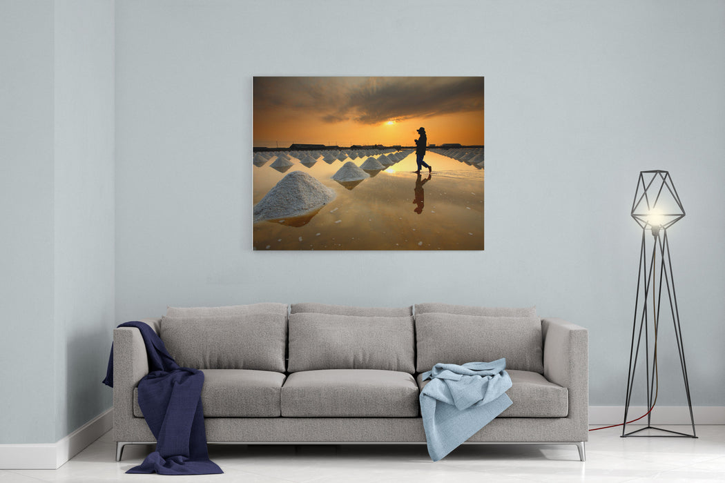 Salt Fields, Phetchaburi, Thailand Canvas Wall Art Print