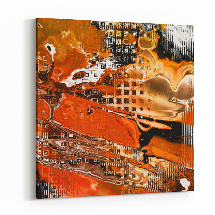 Art Grunge Vintage Abstract Textured Red, Orange, White And Black Background With Halftone And Chaotic Waves Pattern Canvas Wall Art Print