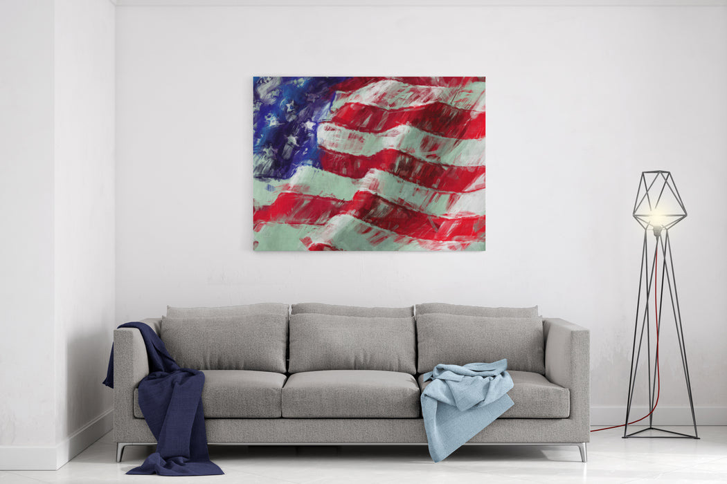 USA Flag Abstract Painting Background Canvas Wall Art Print