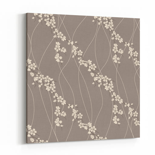 Beautiful Vector Seamless Pattern With Sakura Flowers And Lines Canvas Wall Art Print