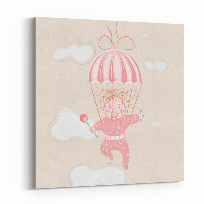 Parachuting Little Girl With Lollipop EPS Layered Illustration No Effects Used Canvas Wall Art Print