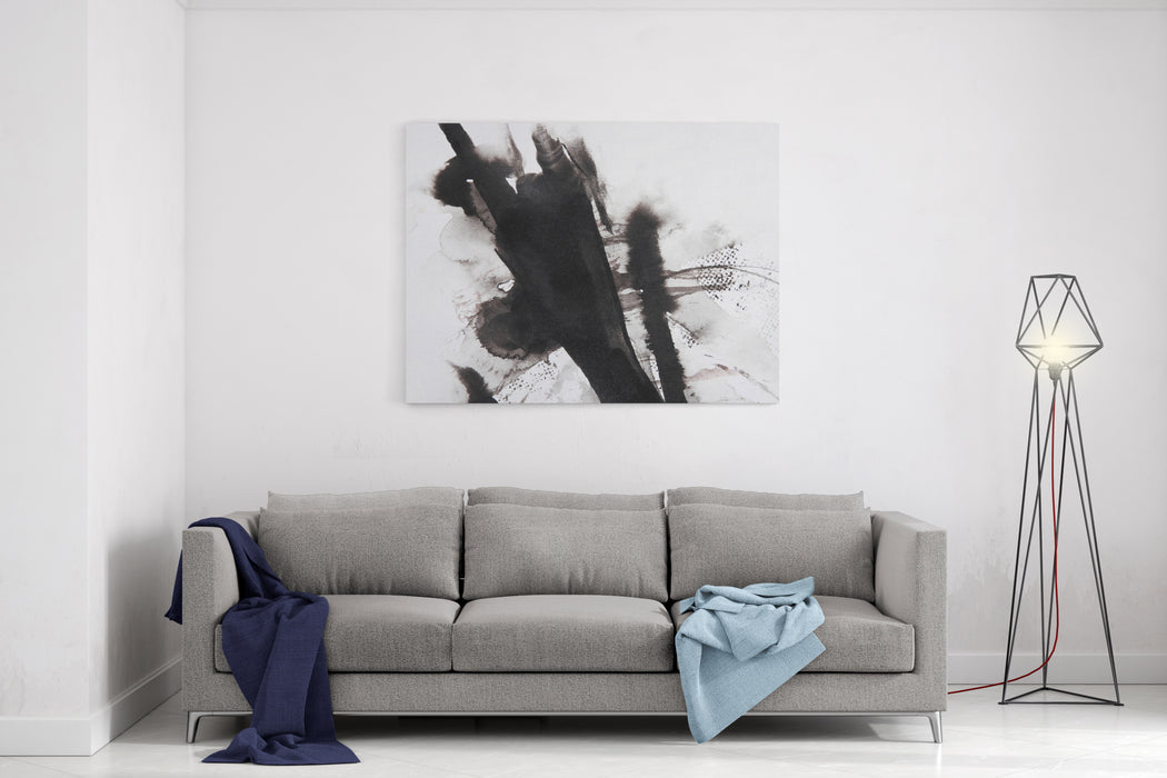 Black And White Abstract Brush Painting Canvas Wall Art Print