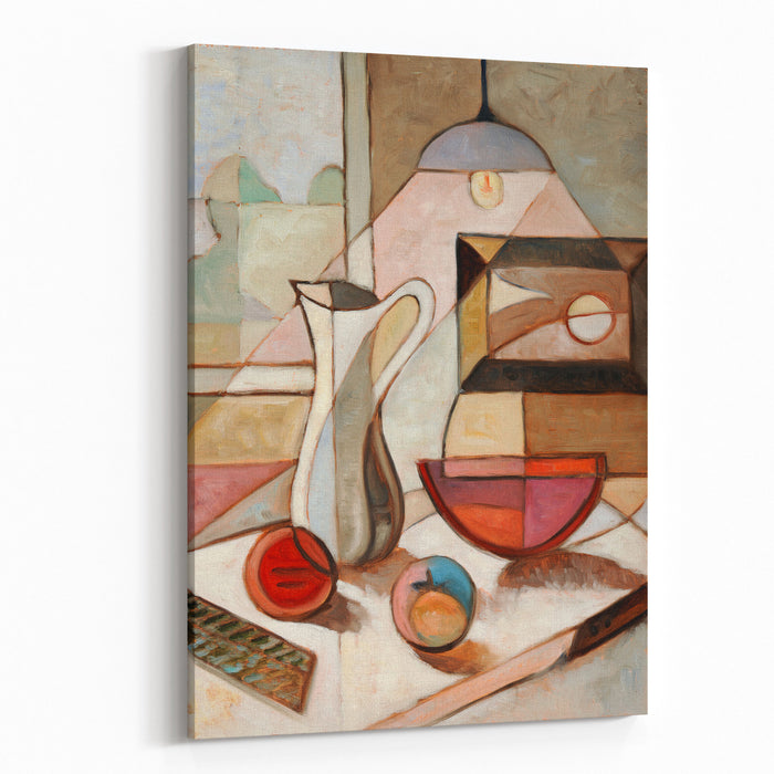 Abstract Oil Painting Of Still Life With Pitcher And Fruits Canvas Wall Art Print