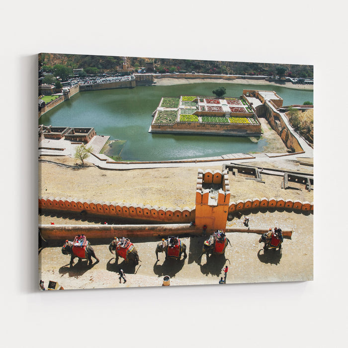 Elephants Climbing The Path To Amber Fort, Jaipur, Rajasthan, India Canvas Wall Art Print