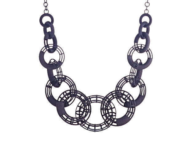 50cm Solid to Structure Torus Necklace - Black