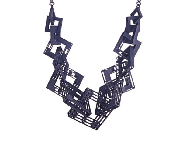 55cm Solid to Structure Square Necklace - Black