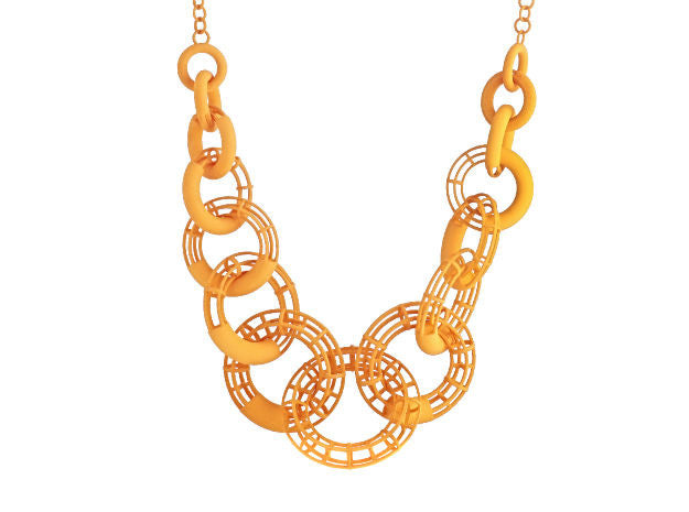 50cm Solid to Structure Torus Necklace - Orange