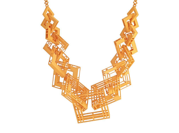 55cm Solid to Structure Square Necklace - Orange