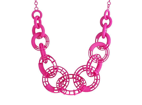 50cm Solid to Structure Torus Necklace - Pink