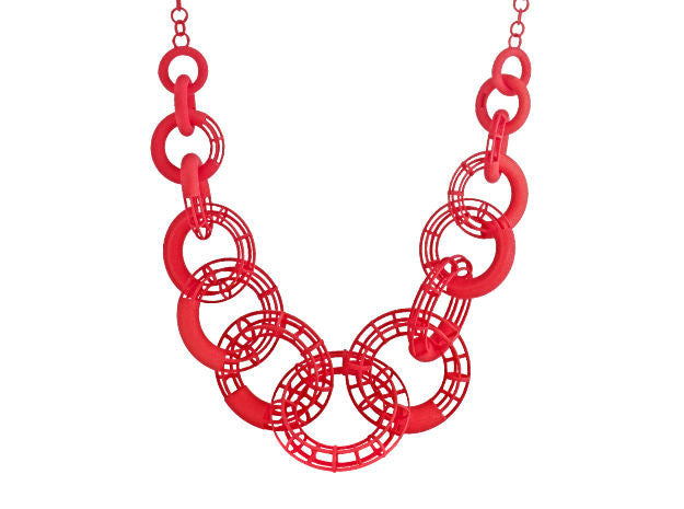 50cm Solid to Structure Torus Necklace - Red