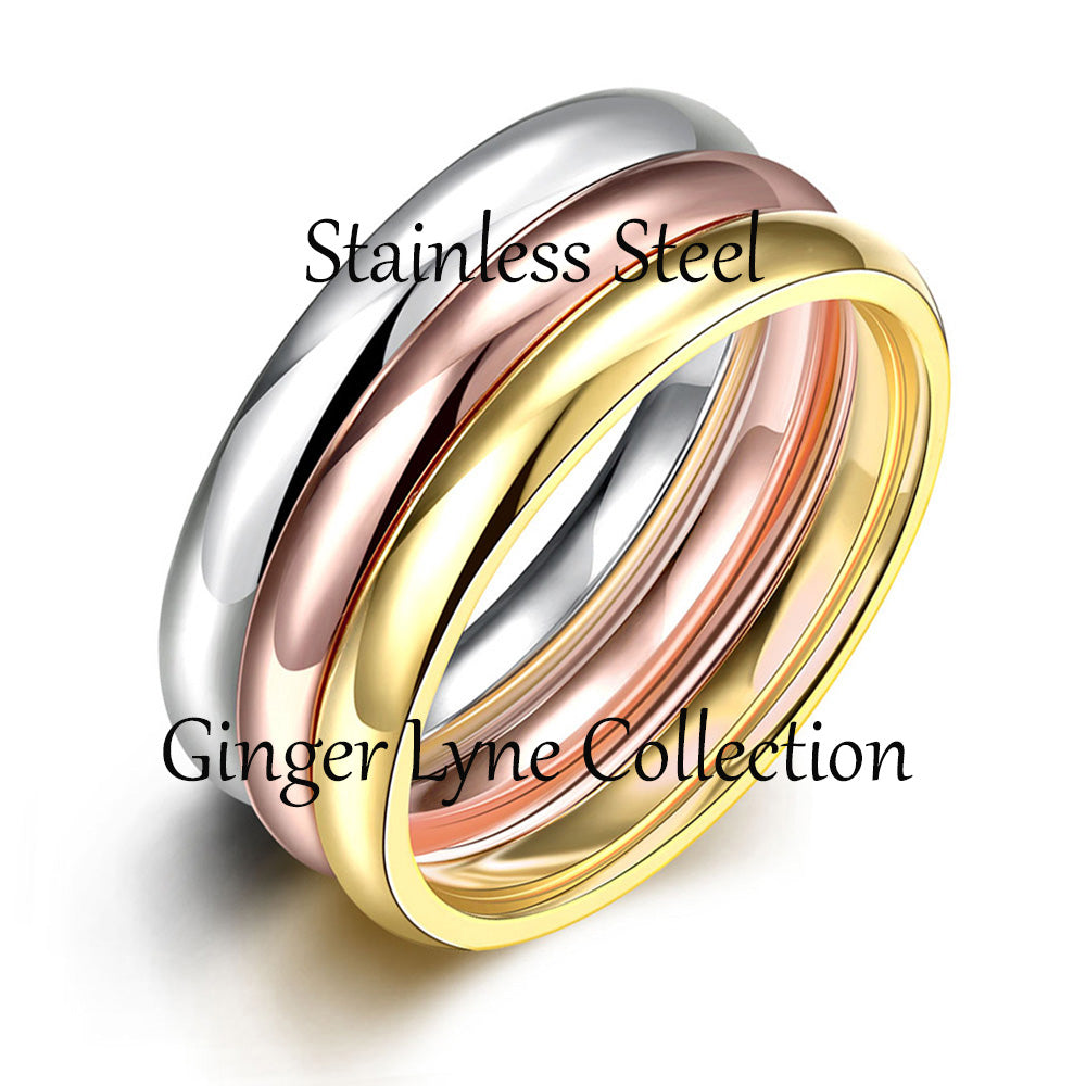 3pc Stacking Stainless Steel Engagement Wedding Ring Band Set for Men or Women by the Ginger Lyne Collection