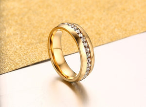 One Row CZ 6mm Gold over Stainless Steel Comfort Fit Wedding Band Ring Ginger Lyne Collection