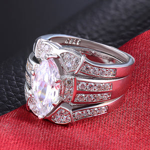 Ginger Lyne Collection Three Ring Bridal Engagement Ring Wedding Band Set