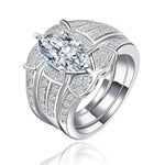 Load image into Gallery viewer, Ginger Lyne Collection Three Ring Bridal Engagement Ring Wedding Band Set