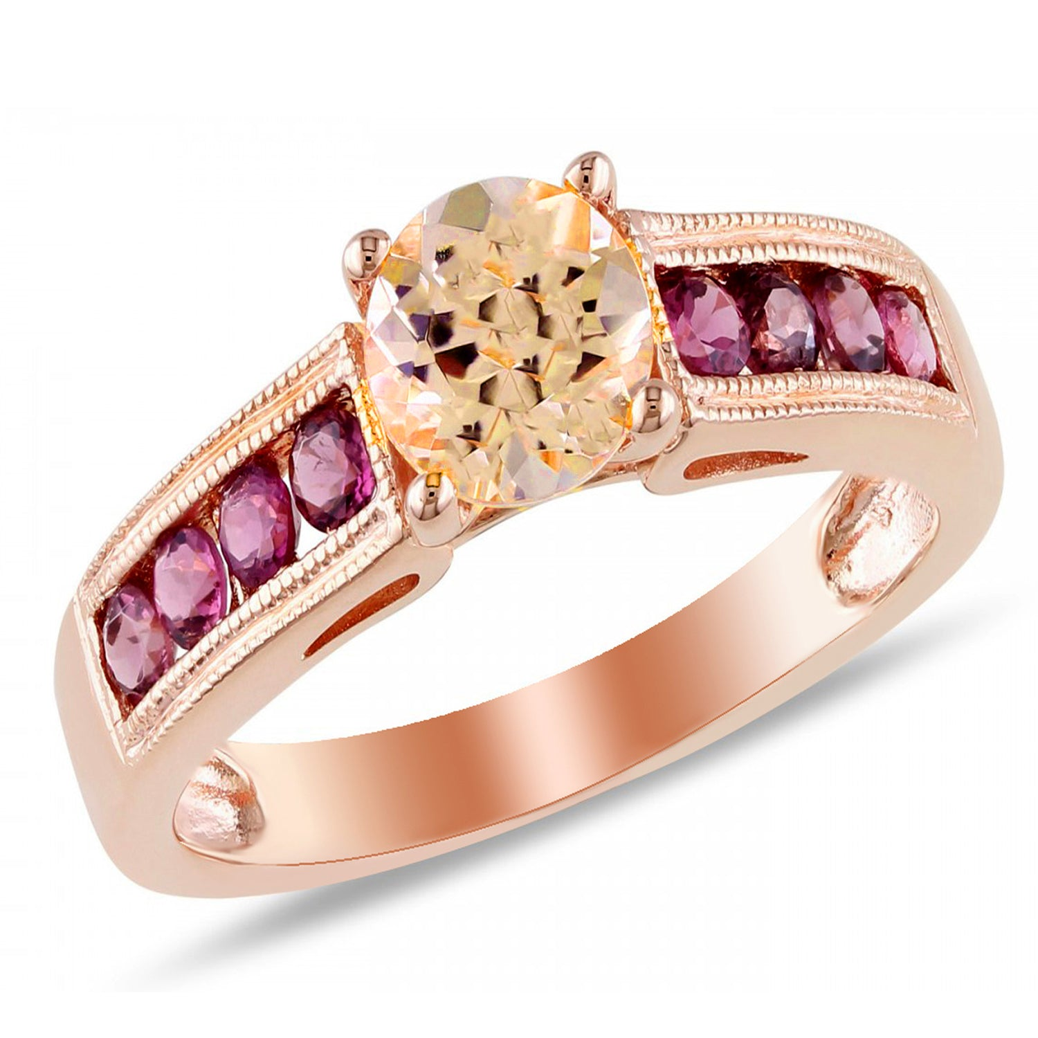 Ginger Lyne Collection Agnes Rose Gold Over Sterling Champagne Red CZ Engagement Ring