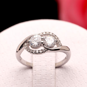 Albany Two Stone Crossover Sterling Silver Engagement Bridal Wedding Ring Ginger Lyne Collection