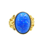 Load image into Gallery viewer, Alberta Large Oval Simulated Blue Fire Opal Ring - Ginger Lyne Collection