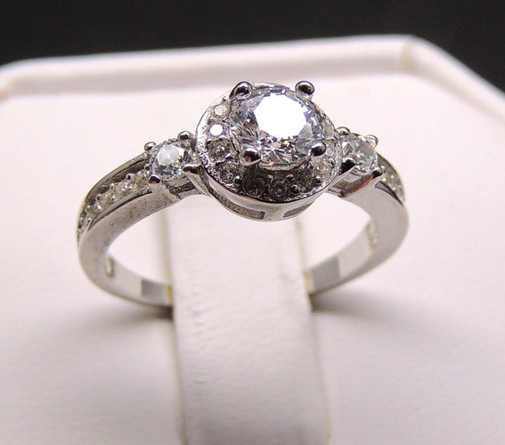 Alexis Engagement Ring for Women 925 Sterling Silver Clear  AAA Cubic Zirconia Ring by Ginger Lyne