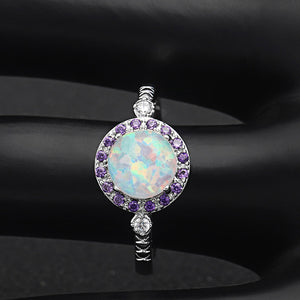 Ginger Lyne Collection Round Simulated Opal Purple CZ Ring