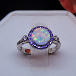 Load image into Gallery viewer, Ginger Lyne Collection Round Simulated Opal Purple CZ Ring