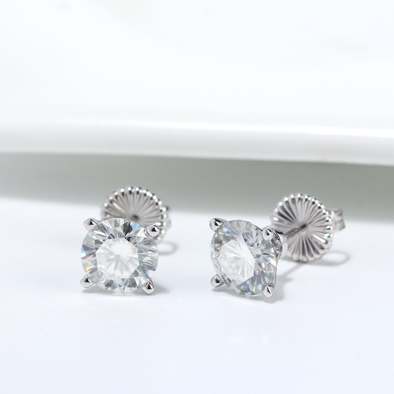 Amore 2 CTW or 4 CTW DEW Solitaire Moissanite Stud Earrings Ginger Lyne Collection Fashion Jewelry for Women Gift Idea