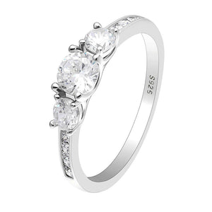 Anastasia 925 Sterling Silver 3 Stone Engagement Wedding Bridal Ring Cubic Zirconia Ginger Lyne Collection