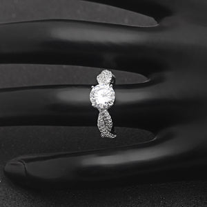 Andrea 925 Sterling Silver Twist Style 8mm 2 CT CZ Engagement Wedding Bridal Ring Ginger Lyne Collection