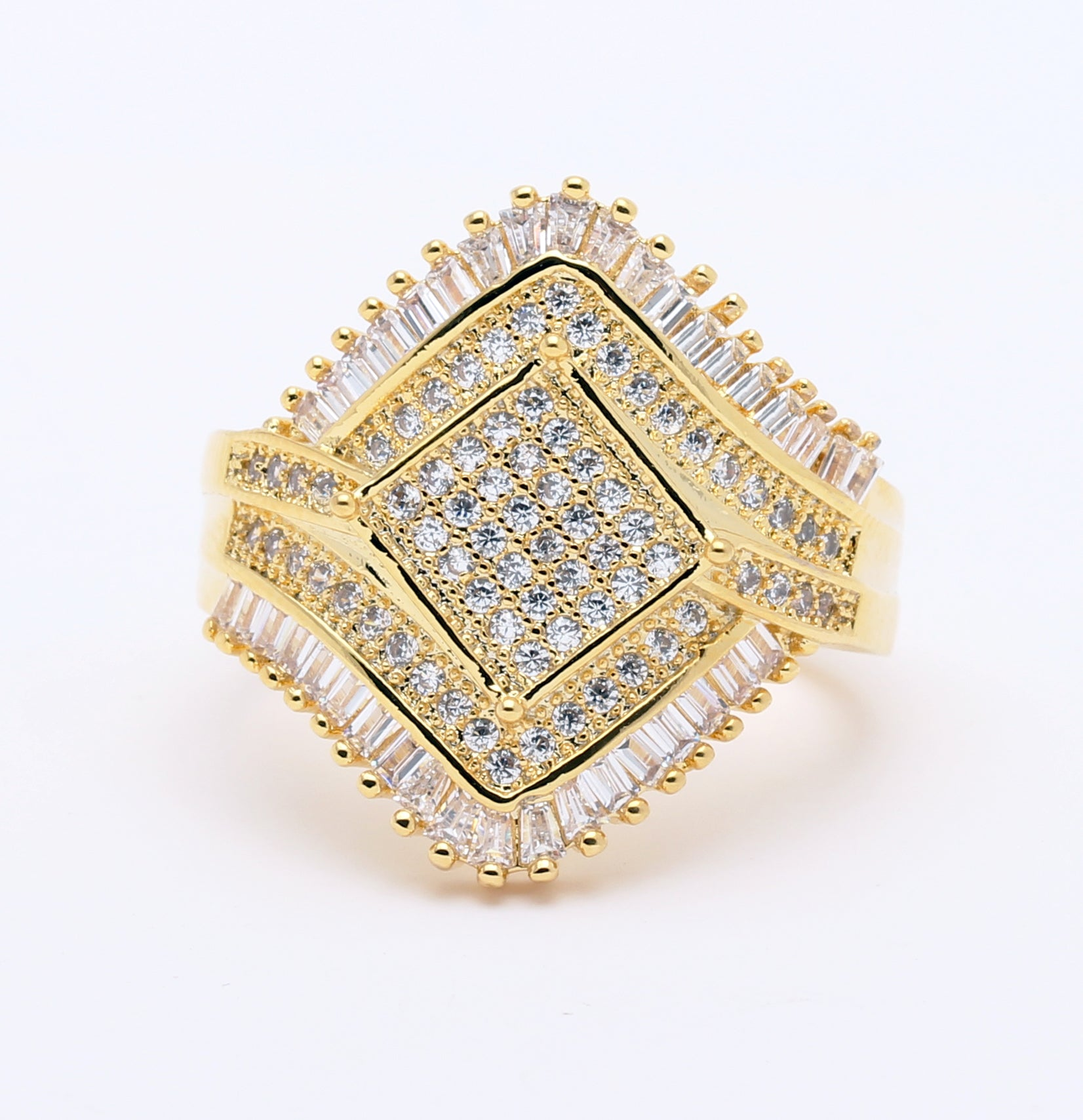 Angelica Statement Ring Womens Yellow Gold Plated Baguette Cubic Zirconia Ginger Lyne Collection