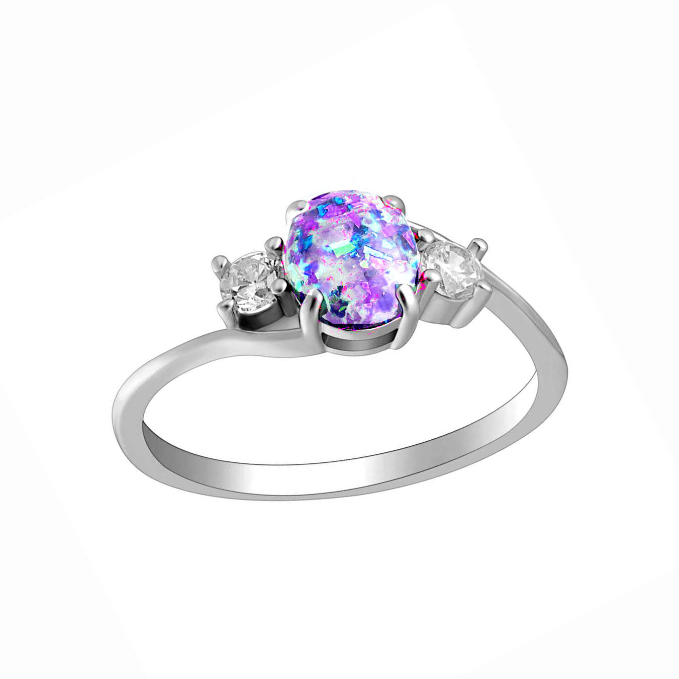 Arlette Oval Shape Simulated Fire Purple Opal Ring - Ginger Lyne Collection