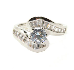 Aubry Solitaire Baguettes Ring Engagement Bridal - Ginger Lyne Collection