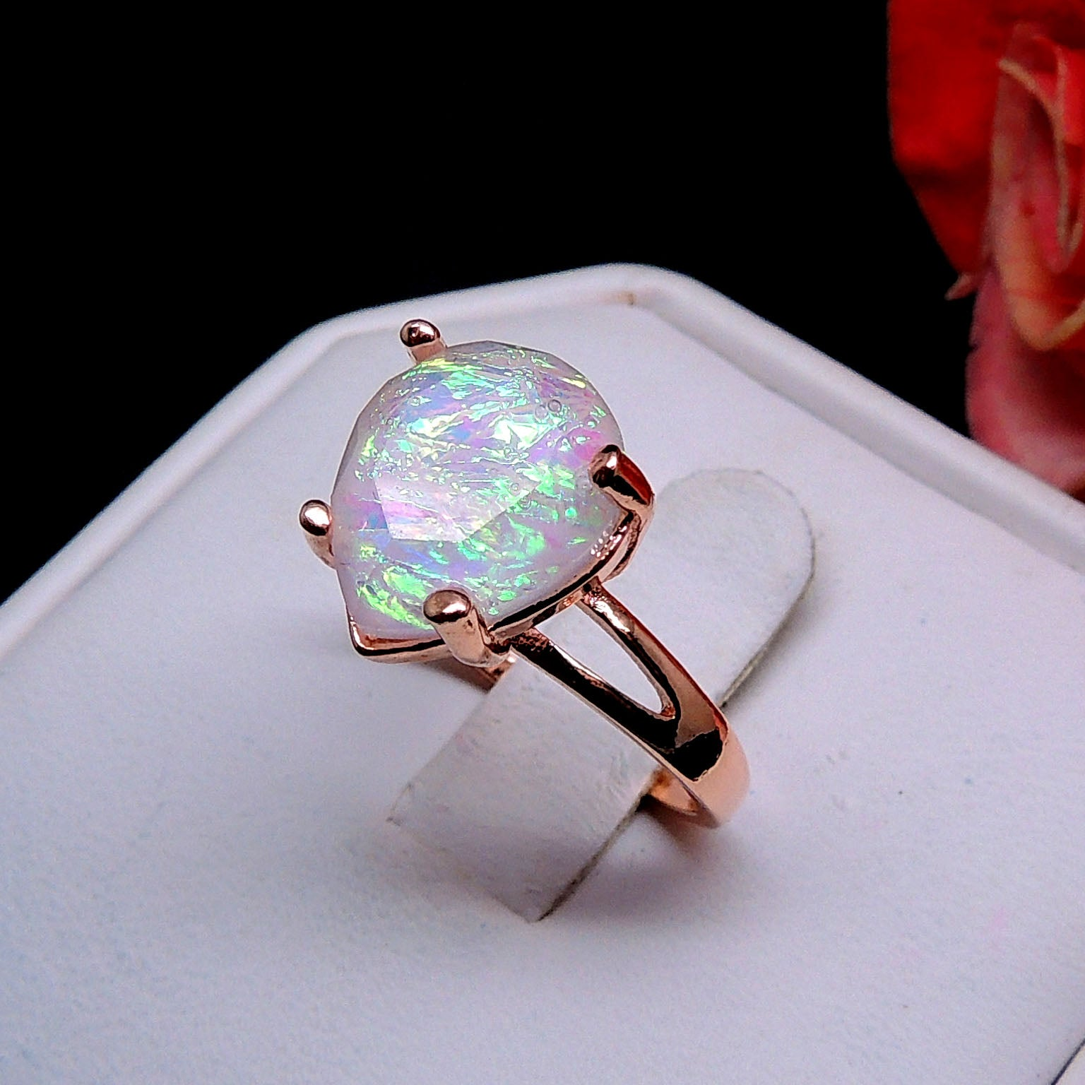 Aviana Large Teardrop Simulated Fire Opal Ring - Ginger Lyne Collection