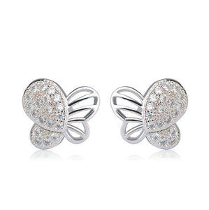 Butterfly Stud Earrings Gold Plated Cubic Zirconia for Girls and Women - Silver