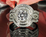 Load image into Gallery viewer, Barbara Halo Pave 3 piece Engagement Wedding Band Bridal Ring Set - Ginger Lyne Collection