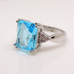 Bendi Large Blue CZ Statement Ring Ginger Lyne Collection