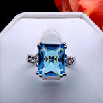 Load image into Gallery viewer, Bendi Large Blue CZ Statement Ring Ginger Lyne Collection