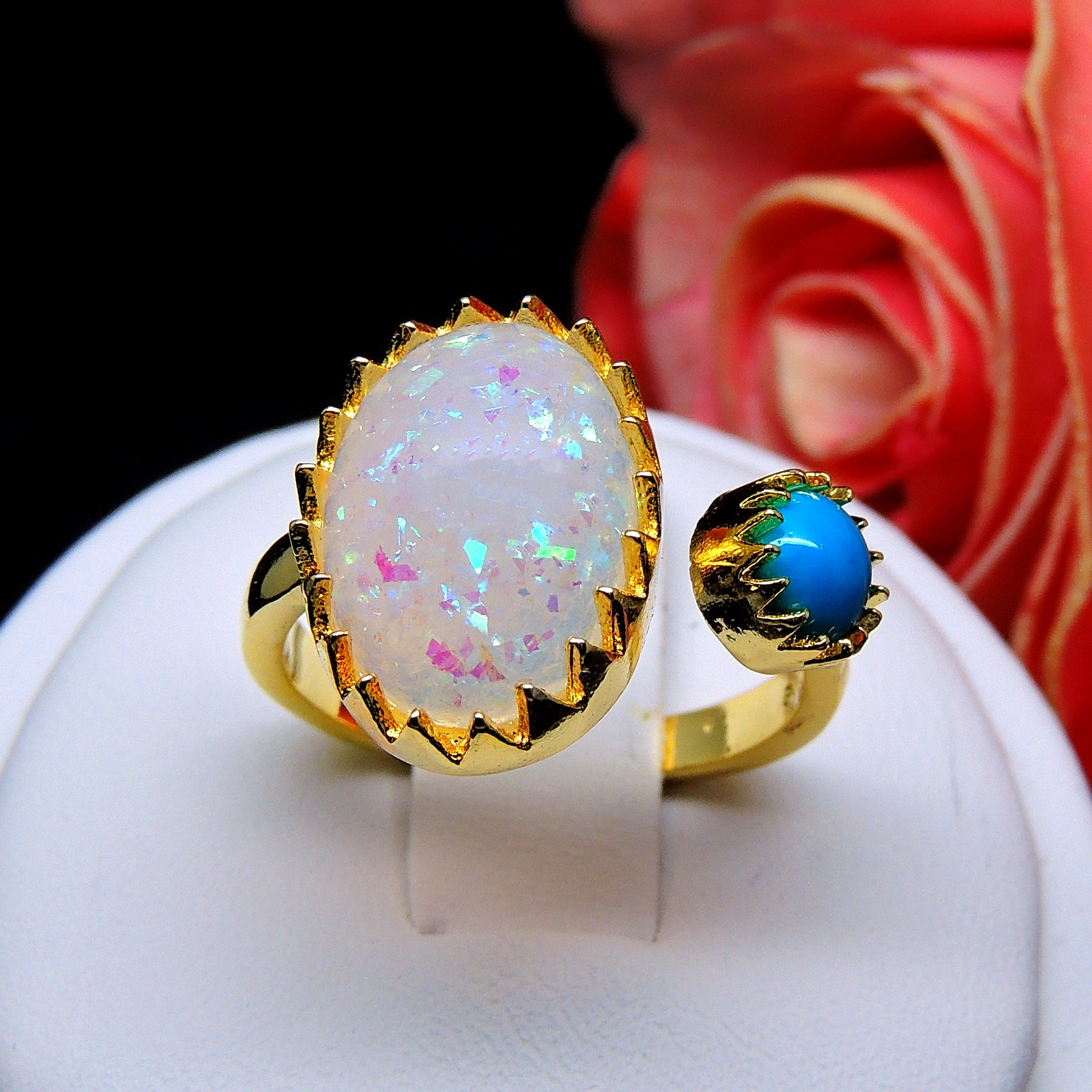 Bexley Unique Oval Simulated Fire Opal Turquoise Ring Ginger Lyne Collection