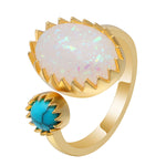 Load image into Gallery viewer, Bexley Unique Oval Simulated Fire Opal Turquoise Ring Ginger Lyne Collection