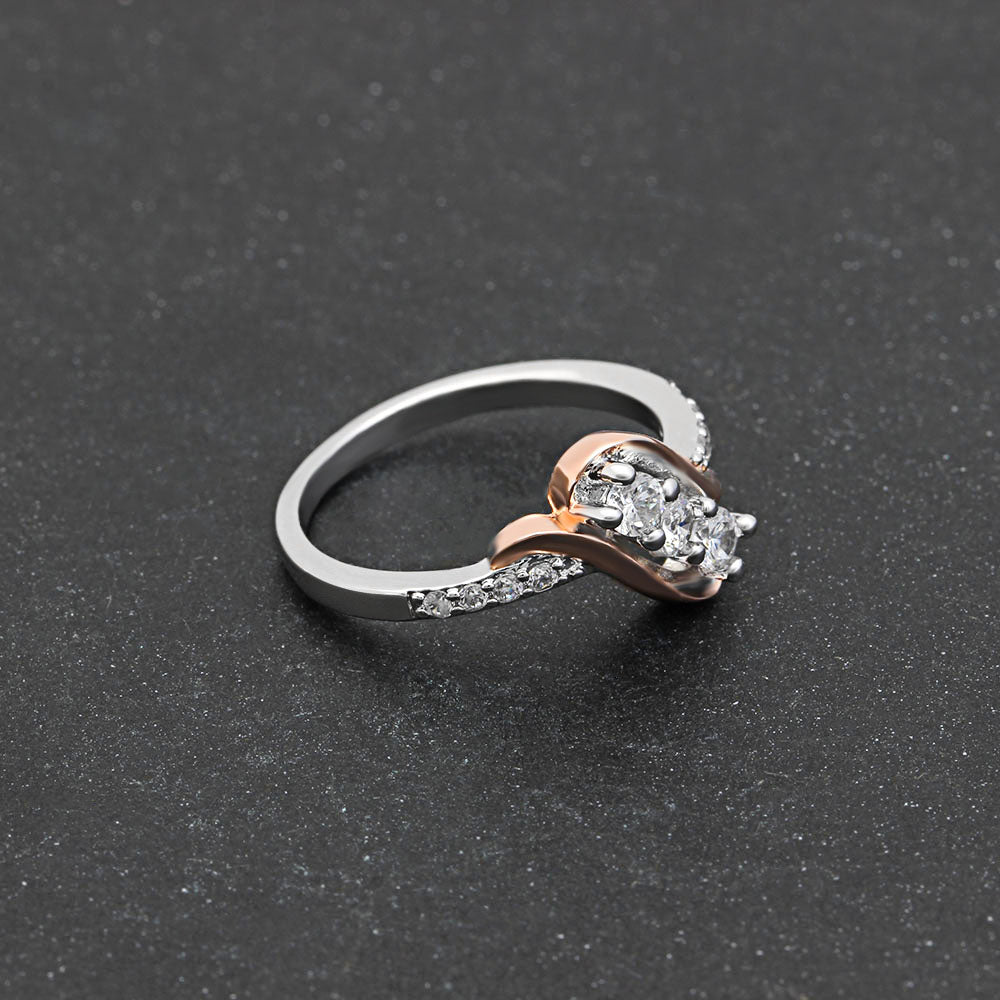 Bianca 3 stone Two Tone Bridal Engagement Wedding Ring- Ginger Lyne Collection