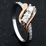 Load image into Gallery viewer, Bianca 3 stone Two Tone Bridal Engagement Wedding Ring- Ginger Lyne Collection